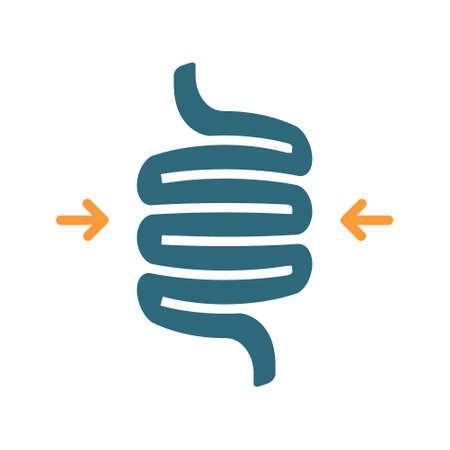 Sigmoid colon volvulus colored icon. Diseases internal organ, intestine symbol Ilustracja