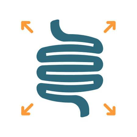 Bloated intestines colored icon. Diseases internal organ, flatulence symbol