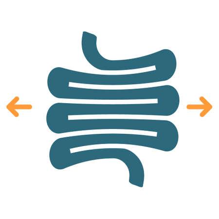 Irritable bowel syndrome colored icon. Diseases internal organ, Dolichosigma, intestine symbol Ilustracja