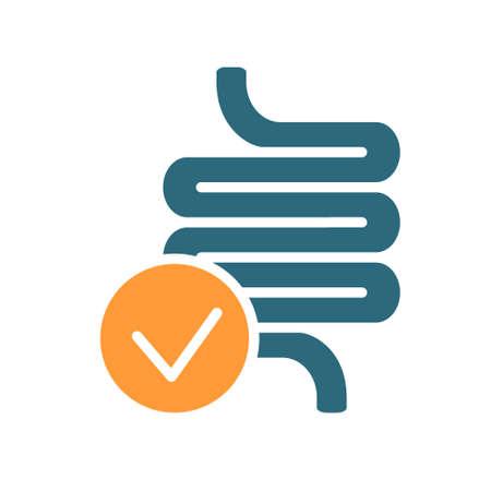 Intestine with tick checkmark line icon. Healthy internal organ symbol Ilustracja