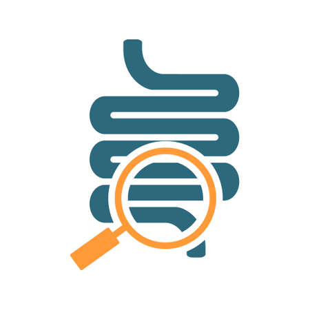 Intestine with magnifying glass colored icon. Organ research, analyzes, disease prevention symbol Ilustracja