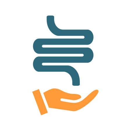 Human intestine on hand colored icon. Care, rescue, treatment, disease prevention symbol