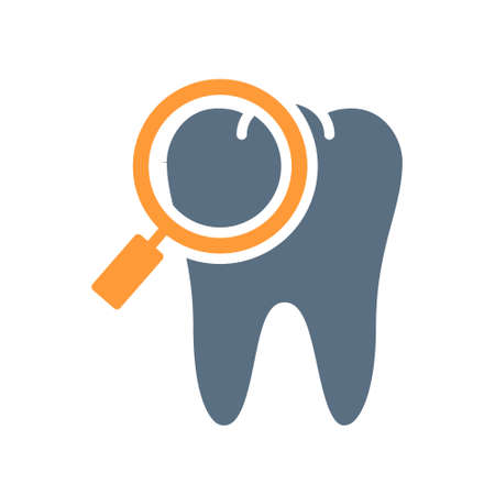 Tooth with magnifying glass colored icon. Organ research, analyzes, disease prevention symbol Ilustracja