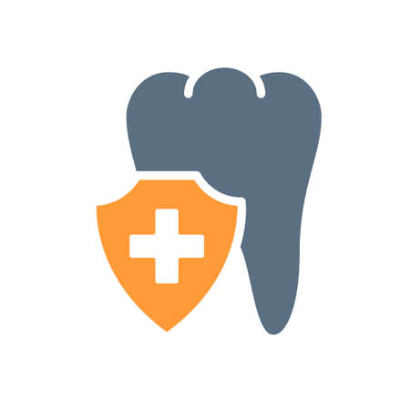 Healthy protected tooth colored icon. Treatment, first aid for tooth diseases symbol Ilustracja