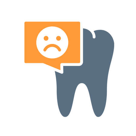 Tooth with sad face in chat bubble colored icon. Diseased organ in the oral cavity symbol Ilustracja