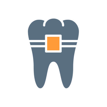 Tooth with braces colored icon. Orthodontic treatment, healthy organ in the oral cavity symbol