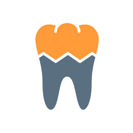 Broken human tooth colored icon. Damaged, diseased internal organ, acute pain, transplant rejection symbol