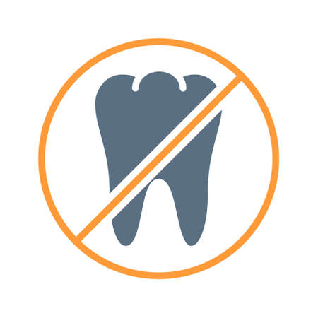 Tooth with prohibition sign colored icon. Transplantation, amputation internal organ, pull out a tooth, no tooth symbol Ilustracja