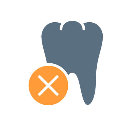 Tooth with cross checkmark colored icon. Diseased internal organ symbol Ilustracja