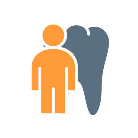 Tooth with man colored icon. organ in the oral cavity symbol Ilustracja