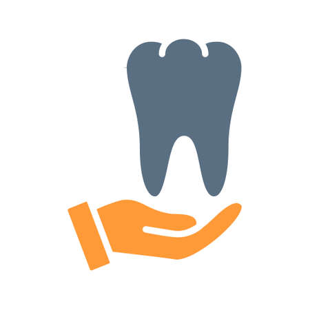 Human tooth on hand colored icon. Care, rescue, treatment, disease prevention symbol Ilustracja