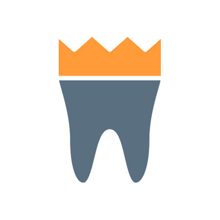 Tooth with crown colored icon. Dental crown, treatment, prevention symbol Ilustracja