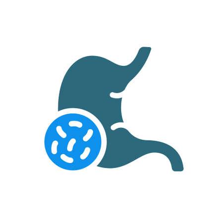 Stomach with bacteria colored icon. Diseased internal organ, Helicobacter pylori, diarrhea, Escherichia coli, salmonella symbol