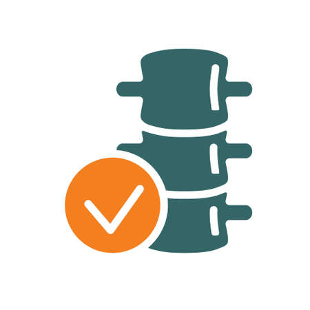 Spine with tick checkmark colored icon. Healthy backbone symbol