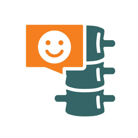 Spine with happy face in chat bubble colored icon. Healthy backbone symbol
