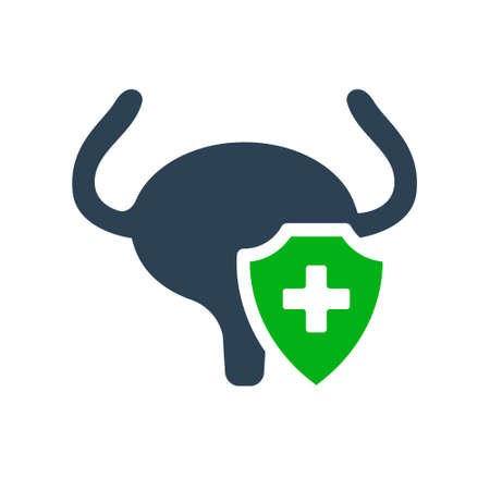 Healthy protected urinary bladder colored icon. Treatment, first aid for muscular organ of the excretory system diseases symbol