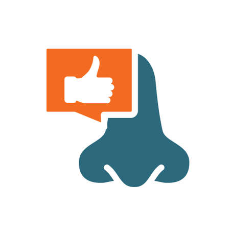 Nose with thumb up in chat bubble colored icon. Healthy olfactory organ symbol Ilustracja