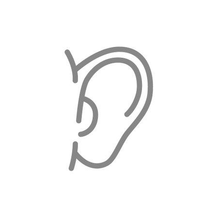 Human ear line icon. Hearing organ symbol