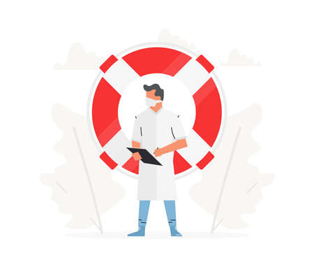 The doctor stands in front of a large life buoy. Hospital man profession concept vector illustration. Vektoros illusztráció