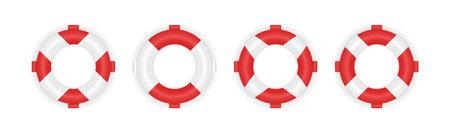 Set of 4 different marine lifeboat. Realistic 3d lifebuoys. Rescue life belt illustration