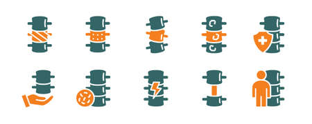Set of human spine colored icon. Healthy vertebral column, spinal canal illness diagnosis, treatment symbol