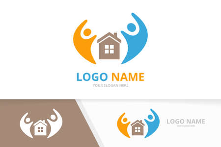 Vector real estate and family logo combination. Unique home and team logotype design template. Logo