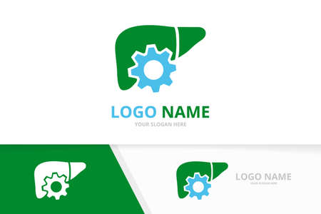 Vector liver and gear logo combination. Unique internal organ logotype design template. Logó