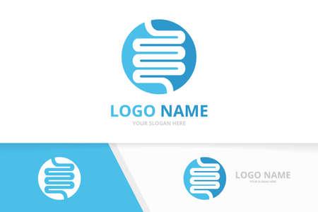 Intestine human organ logo in the circle. Digestive system logotype design template. Logo