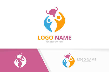 Vector bladder and family logo combination. Urinary tract logotype design template.