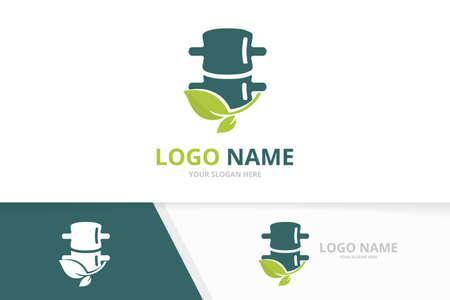 Green spine logo design. Vector natural spinal diagnostic center logotype.