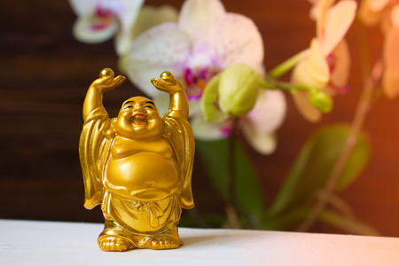smiling buddha: The Decorative statuette Smiling Buddha (Hotei). Happy golden laughing Buddha figurine against the background of orchids