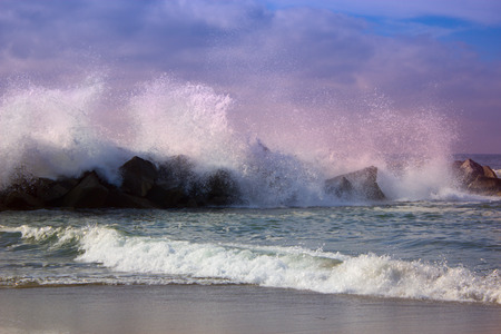 storm tide: Stormy ocean waves, beautiful seascape, big powerful tide in action, storm weather in a deep blue sea, forces of nature, natural disaster.ocean wave in the Pacific ocean