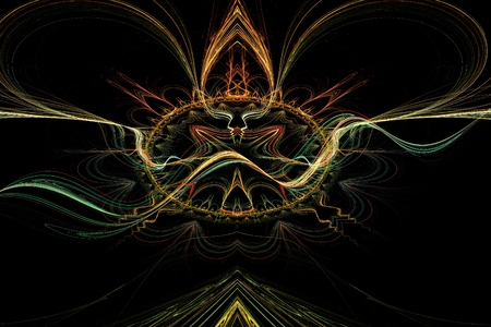 high tech design: abstract background for futuristic high tech design. Fractal rendering of colorful lines and curves.