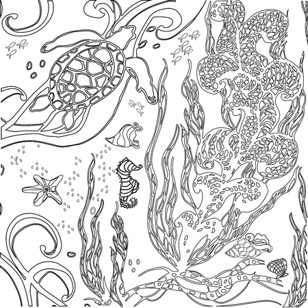 fairy story: Vector illustration underwater world. Doodle sea, ocean, fairy story. Coloring book anti stress for adults. Black and white.