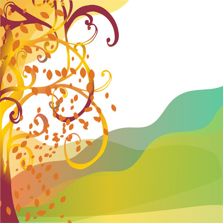 abstract background autumn tree with yellow leaves. Greeting card with  tree and place for text Stock Photo