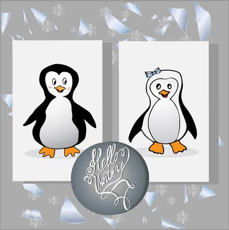 pinguin: Set of animal penguin. Penguin bird, penguin vector, animals winter, penguin isolated, animal penguin, cartoon penguin, character illustration Stock Photo