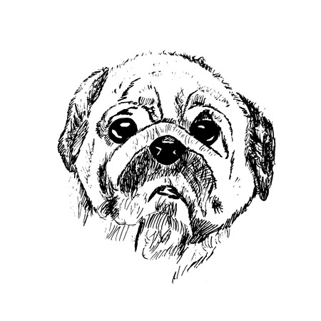 Black and white vector sketch of a sad dog Stock Photo