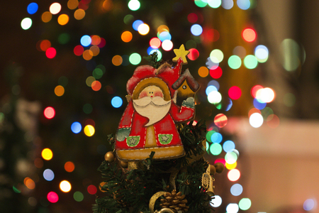 stuff toy: Toy hanging on the Christmas tree. toy of santa claus. Santa Claus christmas decoration