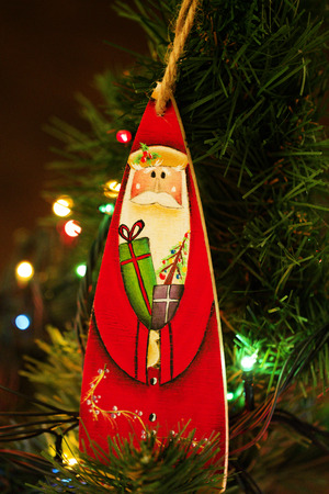 stuff toys: Toy hanging on the Christmas tree. toy of santa claus. Santa Claus christmas decoration