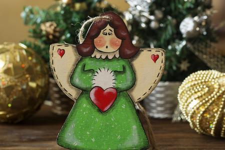stuff toy: Christmas tree toys, angel. christmas decoration handmade toy Angel Stock Photo