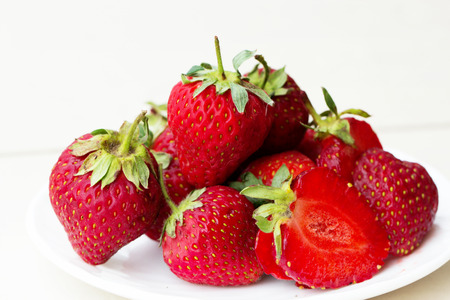 fresh Strawberry in a bowl. Strawberry isolated on white background Stock Photo