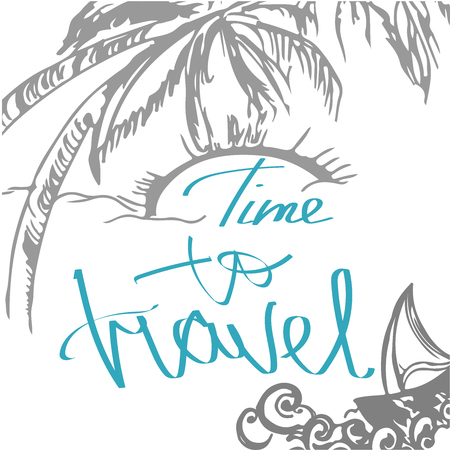 wanderlust: Travel hand drawn sketch for design. Handwritten letters: Adventure Travel. Color doodle with ship. Vector decoration hand drawing sketch. Trip around the world. Holiday doodle. Vector illustration.