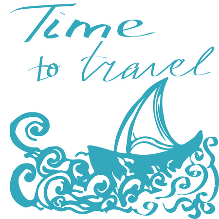 Travel hand drawn sketch for design. Handwritten letters: Adventure Travel. Color doodle with ship. Vector decoration hand drawing sketch. Trip around the world. Holiday doodle. Vector illustration.