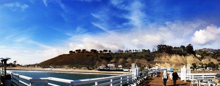 malibu: Panoram of Malibu Pier. Malibu Lagoon State Beach in Malibu, California. Malibu Pier, California, USA. Malibu Lagoon State Beach