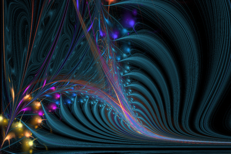 Fractal computer generated illustration of sophisticated spiral. Abstract background illustration of fractal multicolored waves