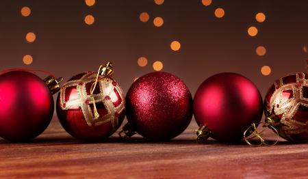 Group of beautiful decorative christmas balls. Christmas card with balls