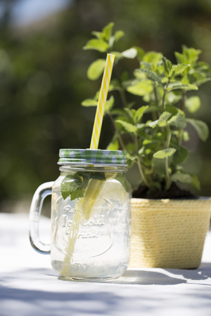 Fresh homemade lemonade with ice. Summer refreshing drinks, mojito or lemonade with fresh mint, slices of lemon, ice, outdoor Stock Photo