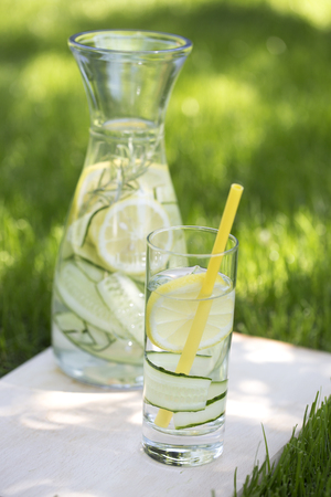 Detox water, fresh lemonade with ice, lemon and rosemary. Fresh cool lemon cucumber mint infused water, cocktail, detox drink, lemonade in a glass jar for spring summer days.  Foto de archivo