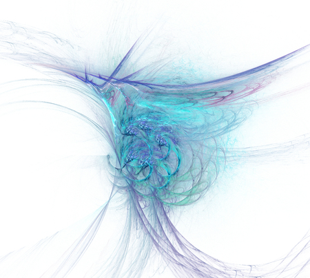 Abstract fractal illustration of spiral fabulous bird isolated over white. Art fantastic fractal spiral scrolling texture in the form of feathers.