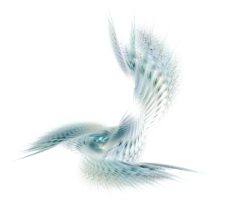 Abstract fractal illustration of spiral fabulous bird isolated over white. Art fantastic fractal spiral scrolling texture in the form of feathers. Stock Illustration - 113444194